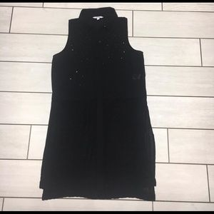 Ladies Black Sleeveless Long Sheer Button Down Top